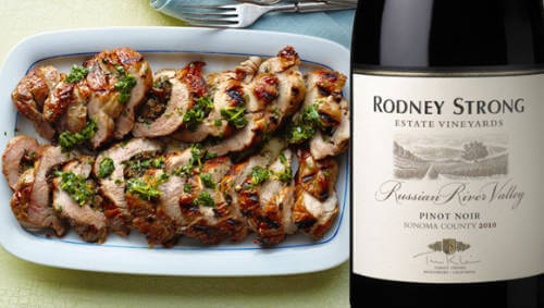 Mushroom-stuffed pork tenderloin and rodney strong pinot noir