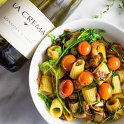 Rustic Vegan Pasta Arugula Mushroom with La Crema Chardonnay