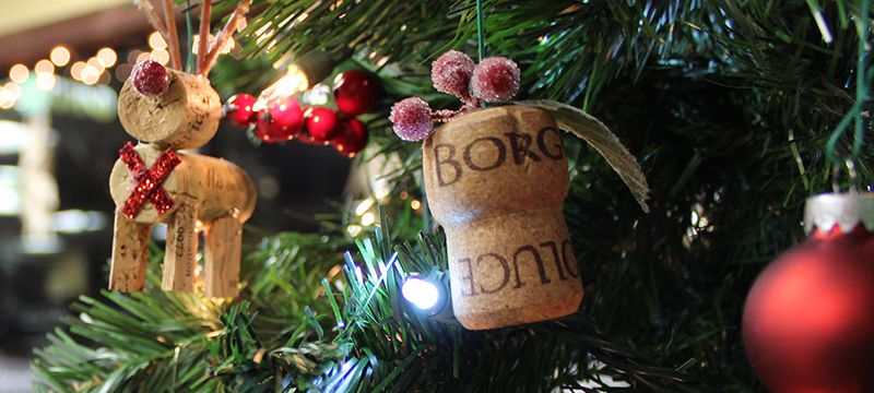 cork Christmas ornaments on a tree