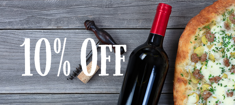 10% off wine with a pizza order
